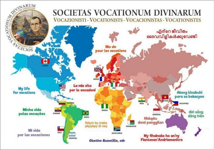 vocazionisti nel mondo - mappa, vocationists in the world - map